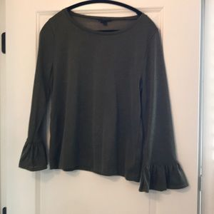J Crew Olive Sparkle Top with bell sleeves
